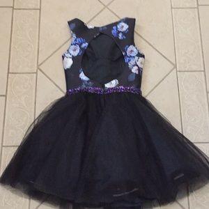 Mon Cheri Dresses - Mon Cheri floral black and purple cocktail dress